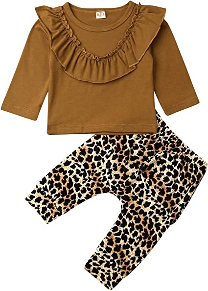 3PCS Toddler Kid Baby Girl Long Sleeve Top Leopard Flare Pants Headband Suit Set