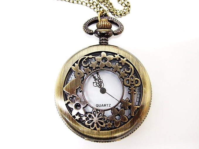 Hanamaru Club reloj como las aventuras de Alicia en el país de las maravillas dorado antiguo collar colgante: Amazon.es: Relojes