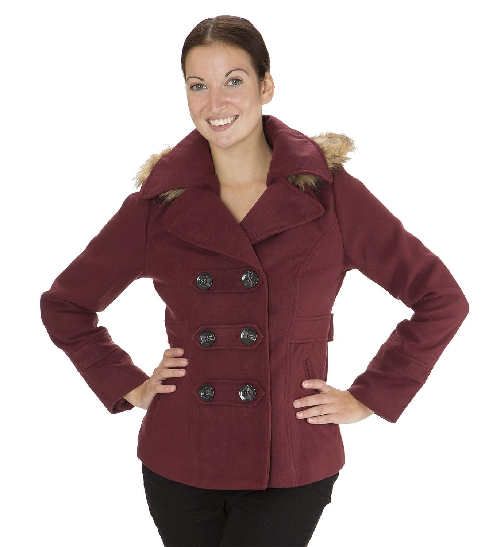 Amazon.com: Dollhouse Classic Faux Wool Double Breasted Pea Coat ...