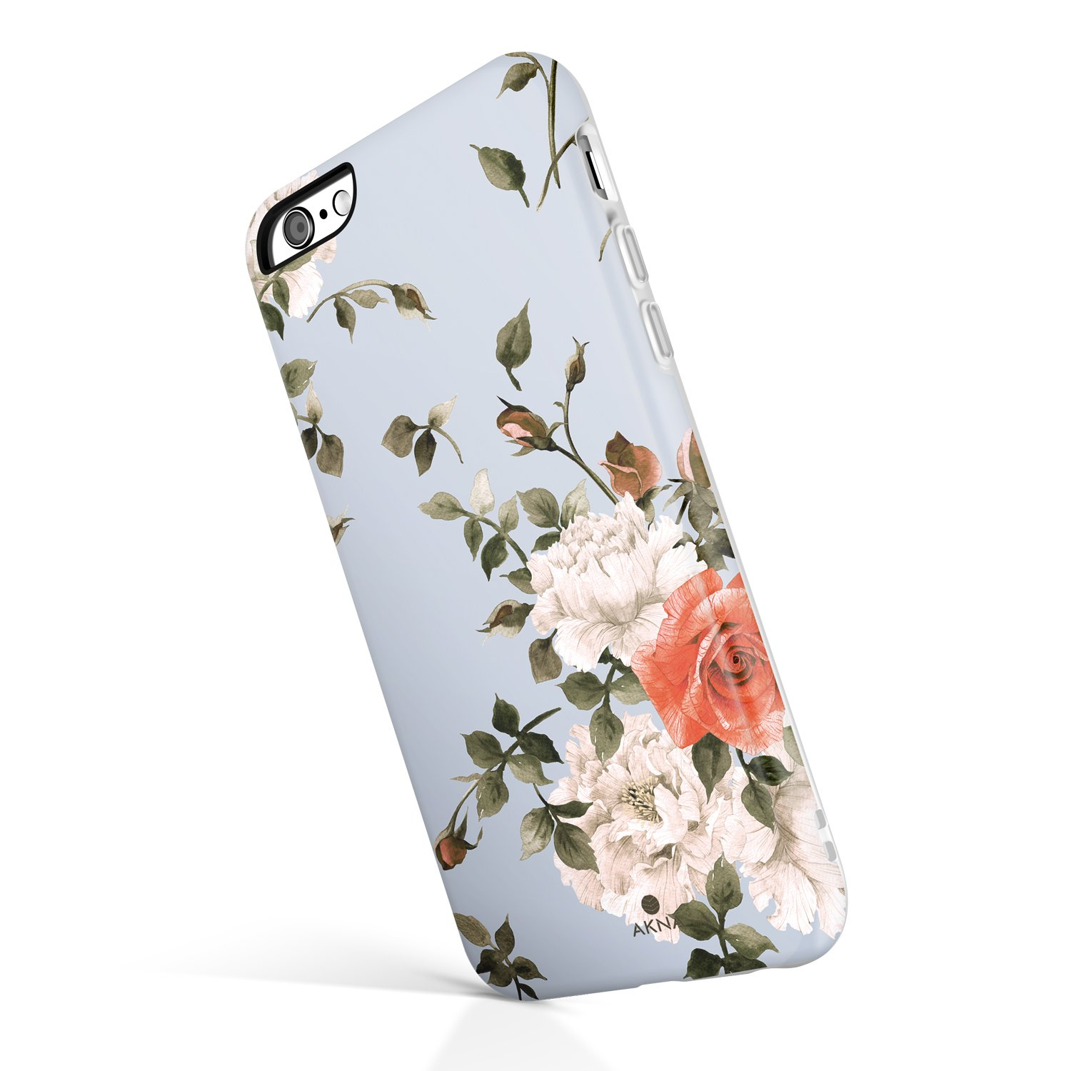 iPhone 6/6s case Floral, Akna Collection High Impact Flexible Silicon Case for Both iPhone 6 & iPhone 6s [Cashmere Blue Floral](772-U.S)