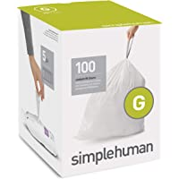 simplehuman Code G Custom Fit Liners, Drawstring Trash Bags, 30 Liter / 8 Gallon, 100-Count Box