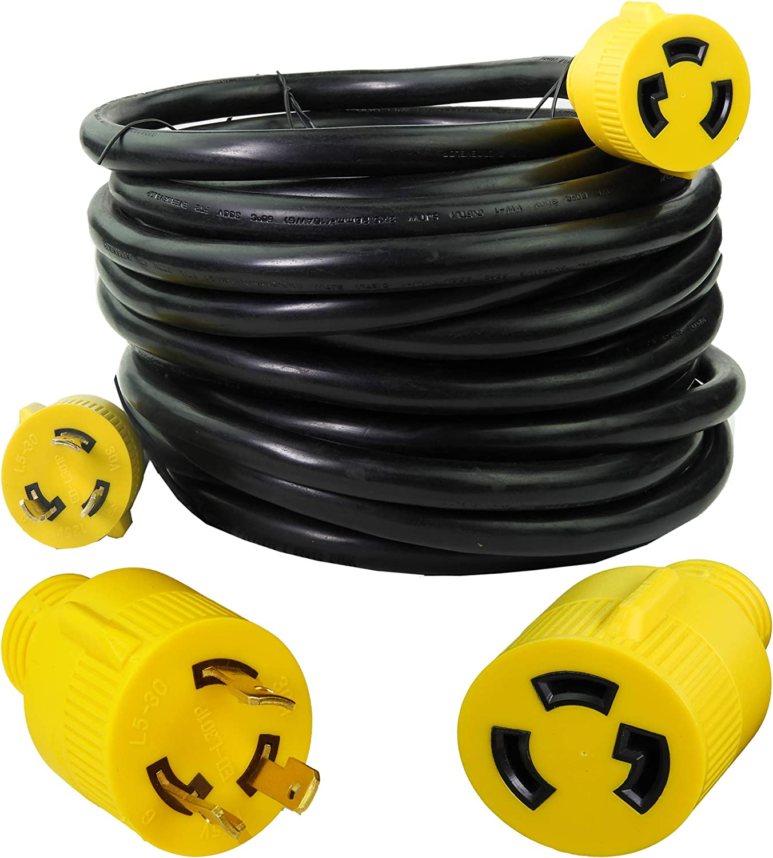 Leisure Cords NEMA L5-30 3 Prong 30 Amp Generator Extension Cord 15 ft.