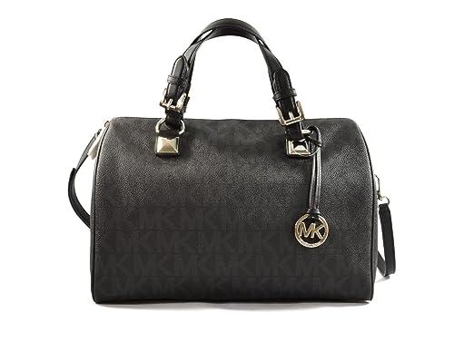 MICHAEL Michael Kors Womens Grayson Faux Leather Satchel Handbag Black Large