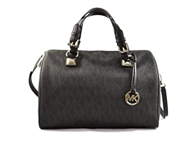 1774c09df5ee Amazon.com  MICHAEL Michael Kors Womens Grayson Faux Leather Satchel  Handbag Black Large  Shoes