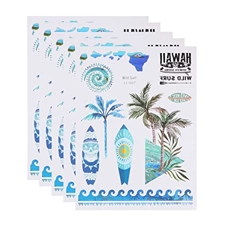Amosfun 5 Hojas/Paquete Hawaiano Tatuajes temporales Adhesivos ...