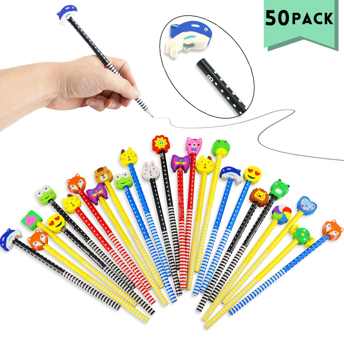 Etmact 50 Pack Assorted Colorful Cartoon Animal Pencil With Eraser Novelty Dot & Stripe Giant Eraser Topper Kids Pencils by Etmact