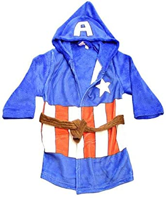 a6d167be04 Official Marvel The Avengers Captain America Kids Dressing Gown Hooded  Fleece Bathrobe Housecoat (Age 2