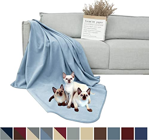 DEARTOWN 100 Waterproof Furniture Cover for Dogs and Cats,Super Soft Pet Blanket for Bed Couch Sofa 70×120 Inches, Blue