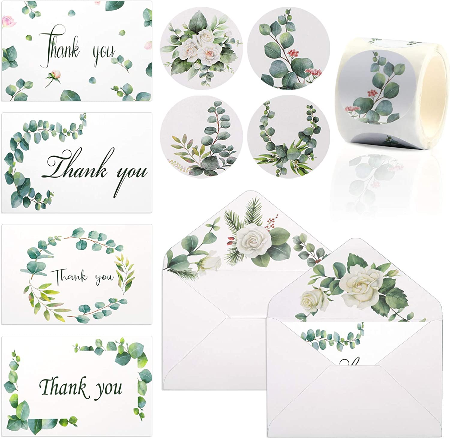 Thank You Cards with Envelopes Set, 48PCS Floral Thank You Cards with Envelopes and Labels for Small Business Retail Store Business Weddings Anniversary Baby Shower