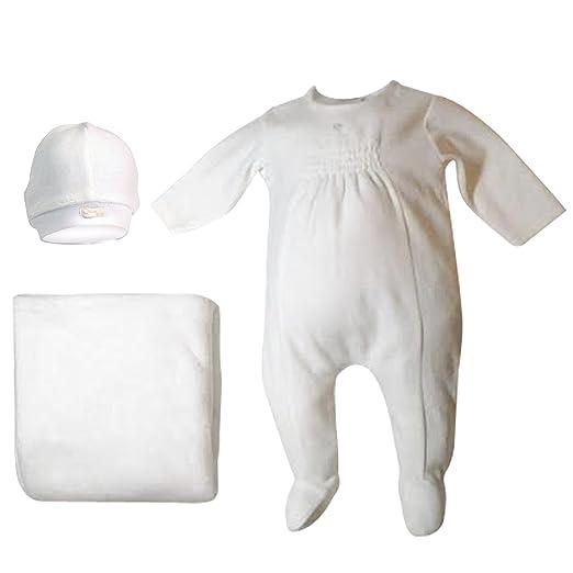 379ba872c4 Cream Bebe Baby Footie Pajama Take Me Home Set Smocked Velour 1 pc Romper Blanket  Hat
