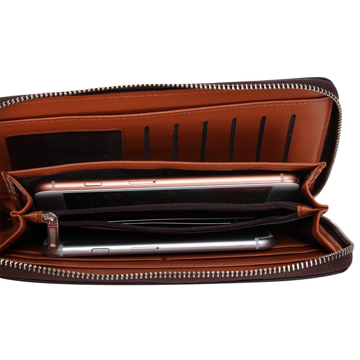 Mens Clutch Genuine Leather Handbag Organizer Checkbook Wallet Card Case by HOLYBIRD (Image #4)