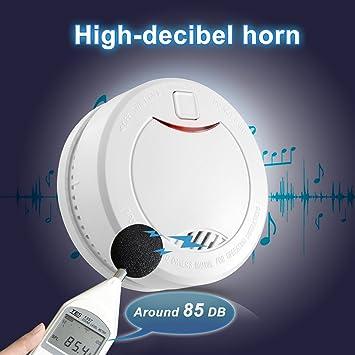 Detector de Humo con Batería Interior de 10 Años, Alarma de Humo con Sensor Fotoeléctrico y Alta Voz, Apriller.