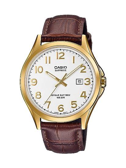 3ae5e0a0b4ce CASIO Reloj Analógico para Hombre de Cuarzo con Correa en Cuero MTS-100GL-7AVEF   Amazon.es  Relojes