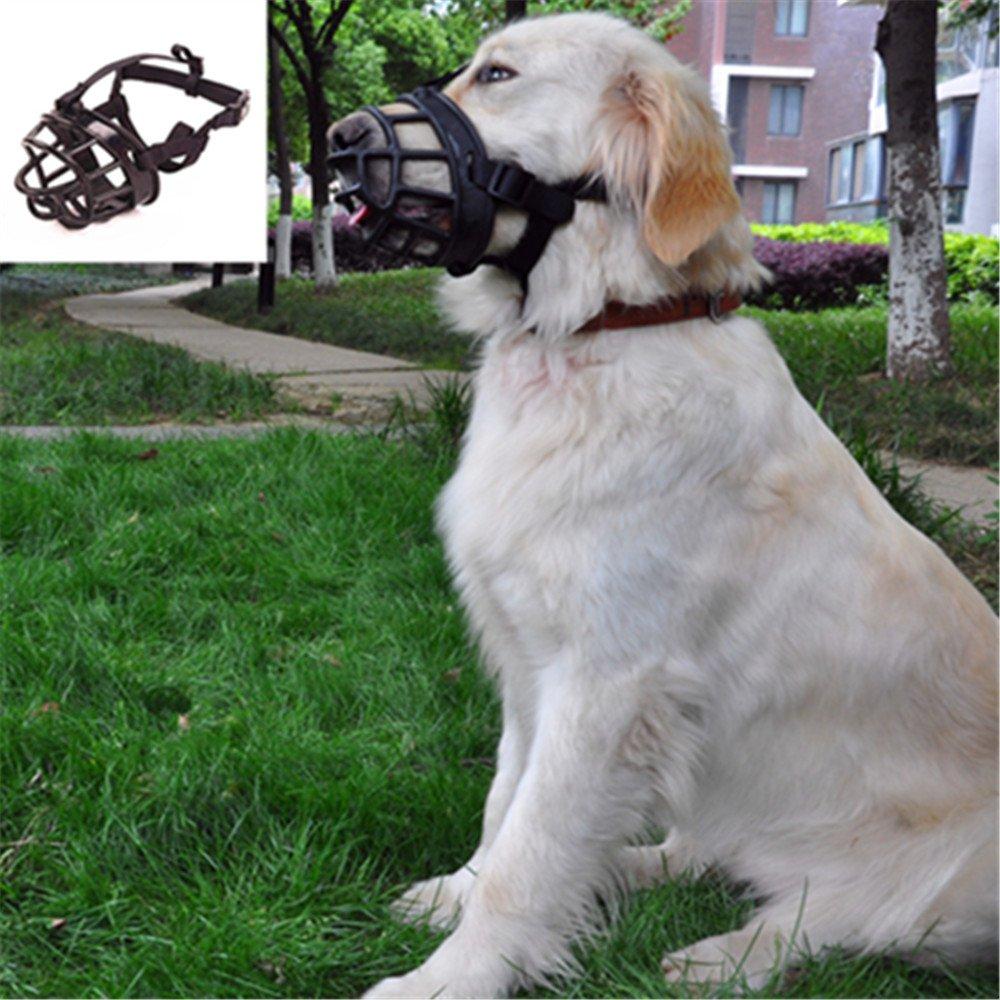 JYHY Soft Silicone Basket Dog Muzzles-Adjustable Breathable Biting Chewing Barking Training Dog mask For Small Medium Large Dogs,Black 2