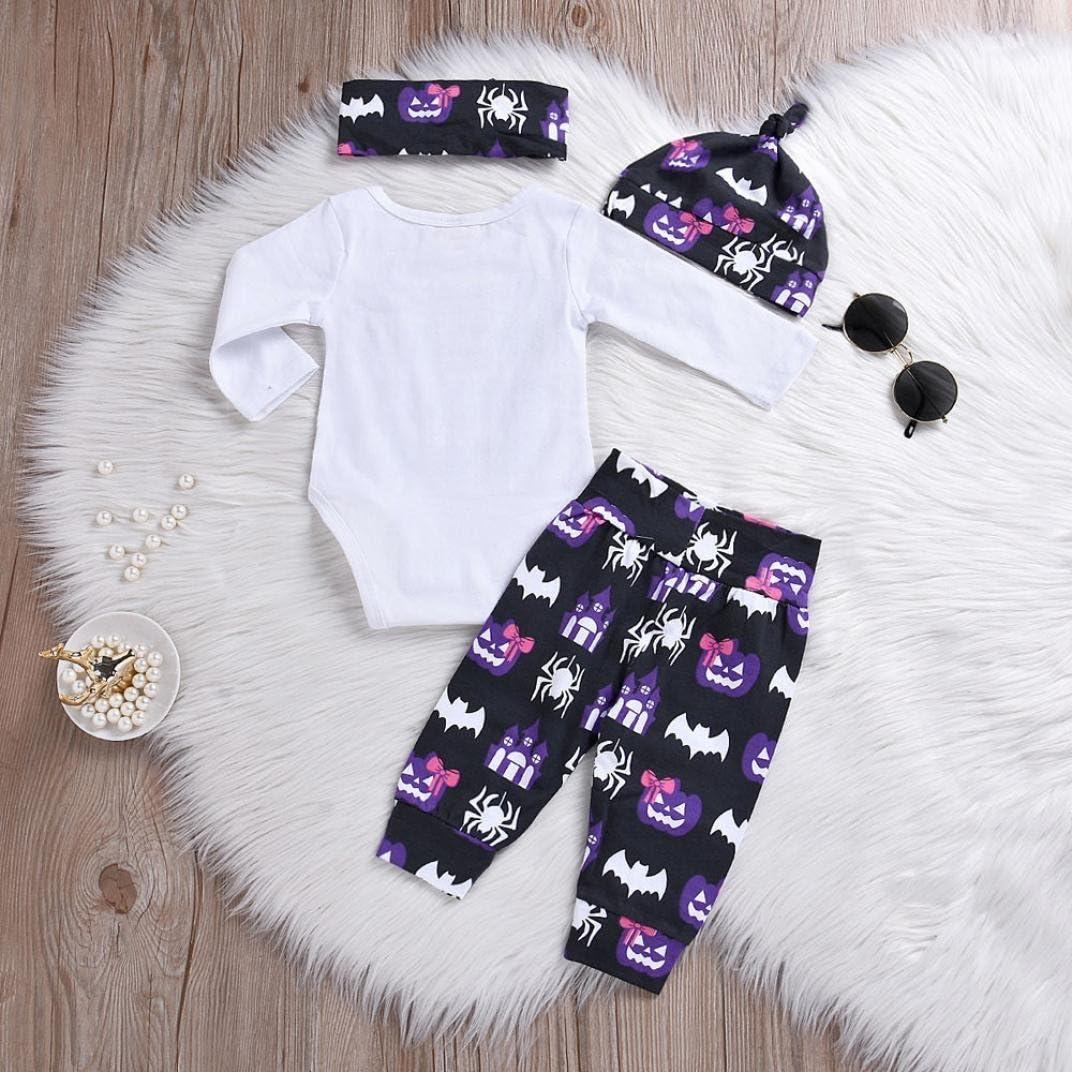 Baby Boys Halloween Costumes Newborn Baby Girls Cartoom Pumpkin Leatter Romper Spider Haunted House 4PCS Outfit Set