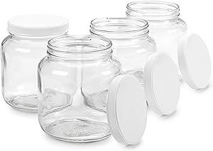 Empty Half Gallon Glass Jar w/Airtight Leakproof Plastic Lid, Wide Mouth Easy to Clean, Dishwasher Safe, USDA Certified, Kombucha Tea Kefir Canning Sun Tea Fermentation Food Storage, 4PK