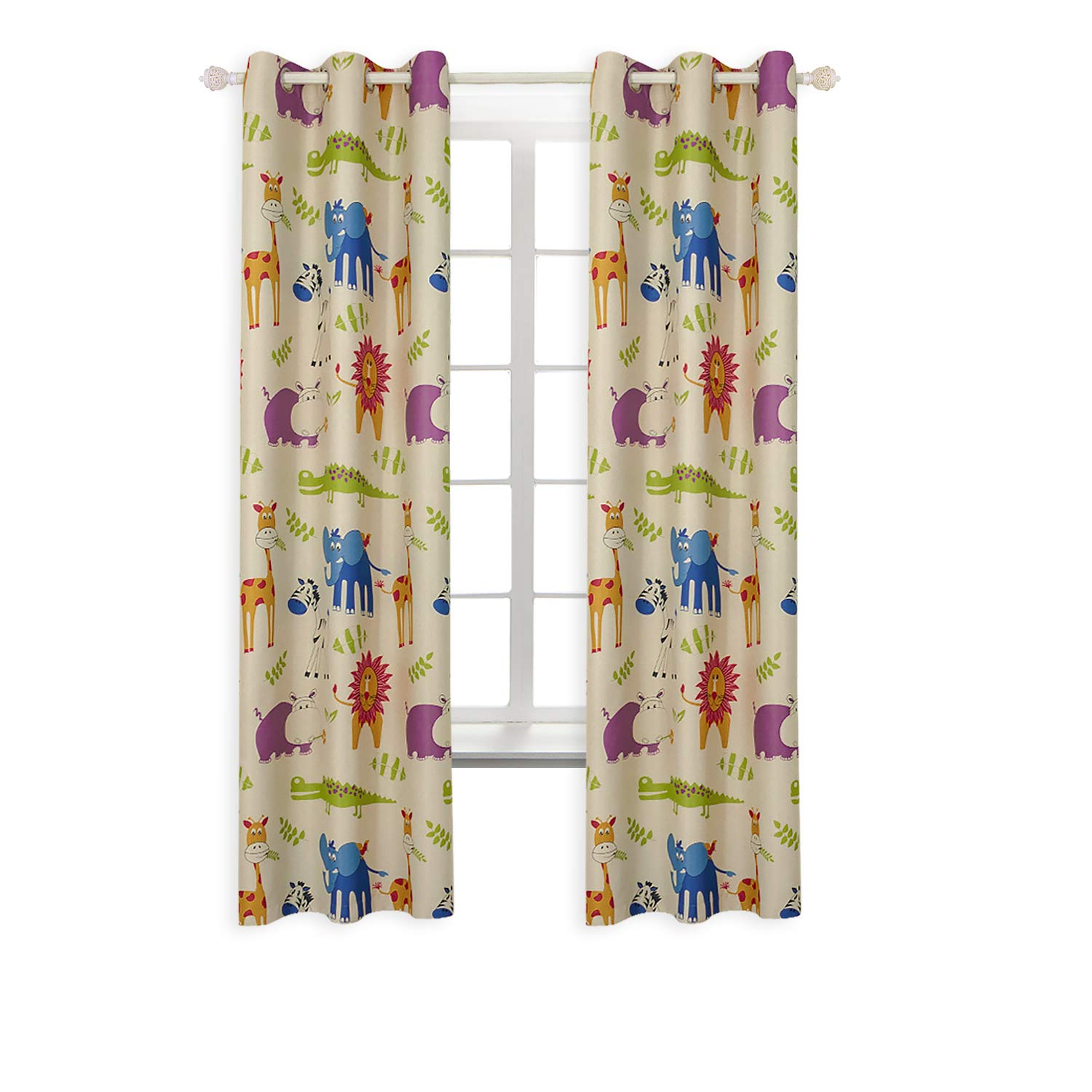 BGment Animal Zoo Kids Curtains for Bedroom Darkening, Classical Grommets, 2Panels (42'' Wx84 L, Curtains)