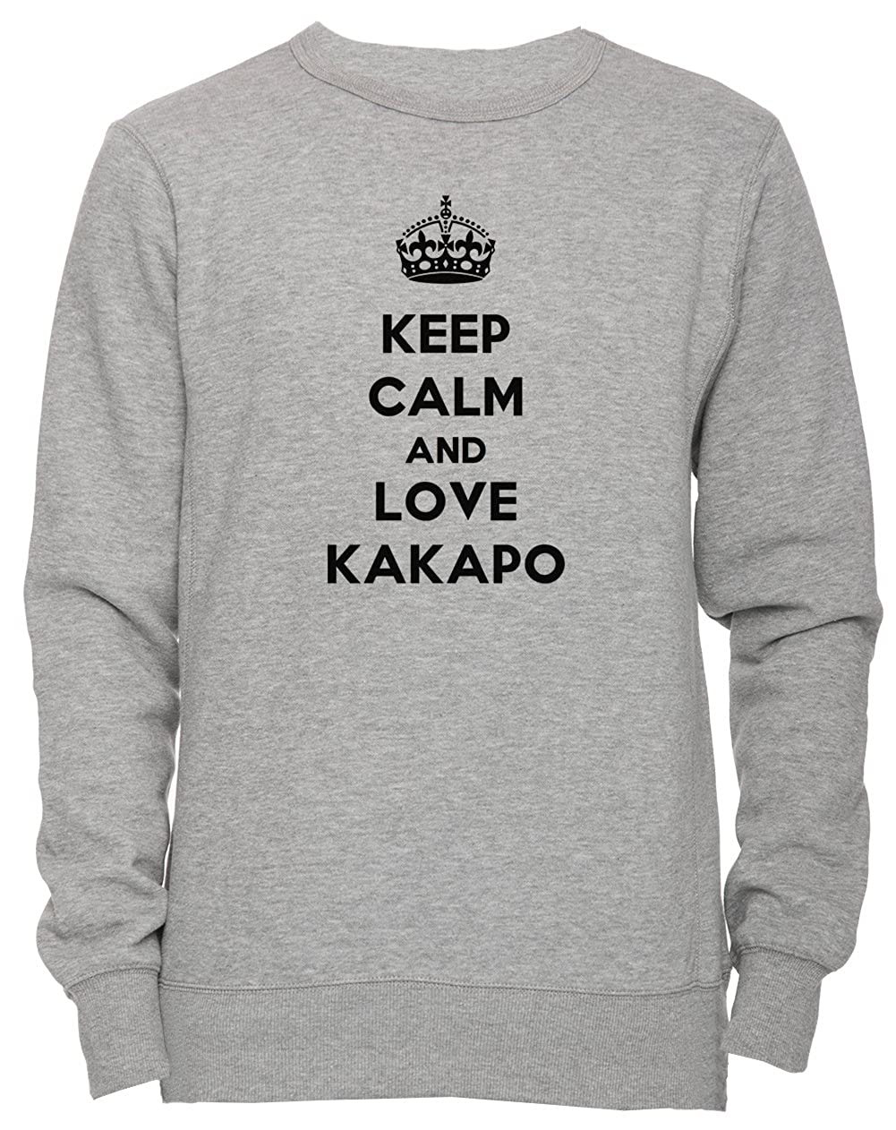 Keep Calm and Love Kakapo Unisexe Homme Femme Sweat-Shirt Jersey Pull-Over Gris Toutes Les Tailles Mens Womens Jumper Sweatshirt Pullover Grey