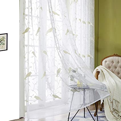 Amazoncom Vogol Faux Linen Embroidered Bird Design Sheer Curtains