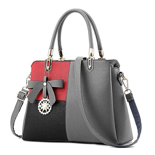 3 opinioni per ZiXing Borsa da Donna Vintage in Finta Pelle Borsa a Tracolla Moda PS grigio