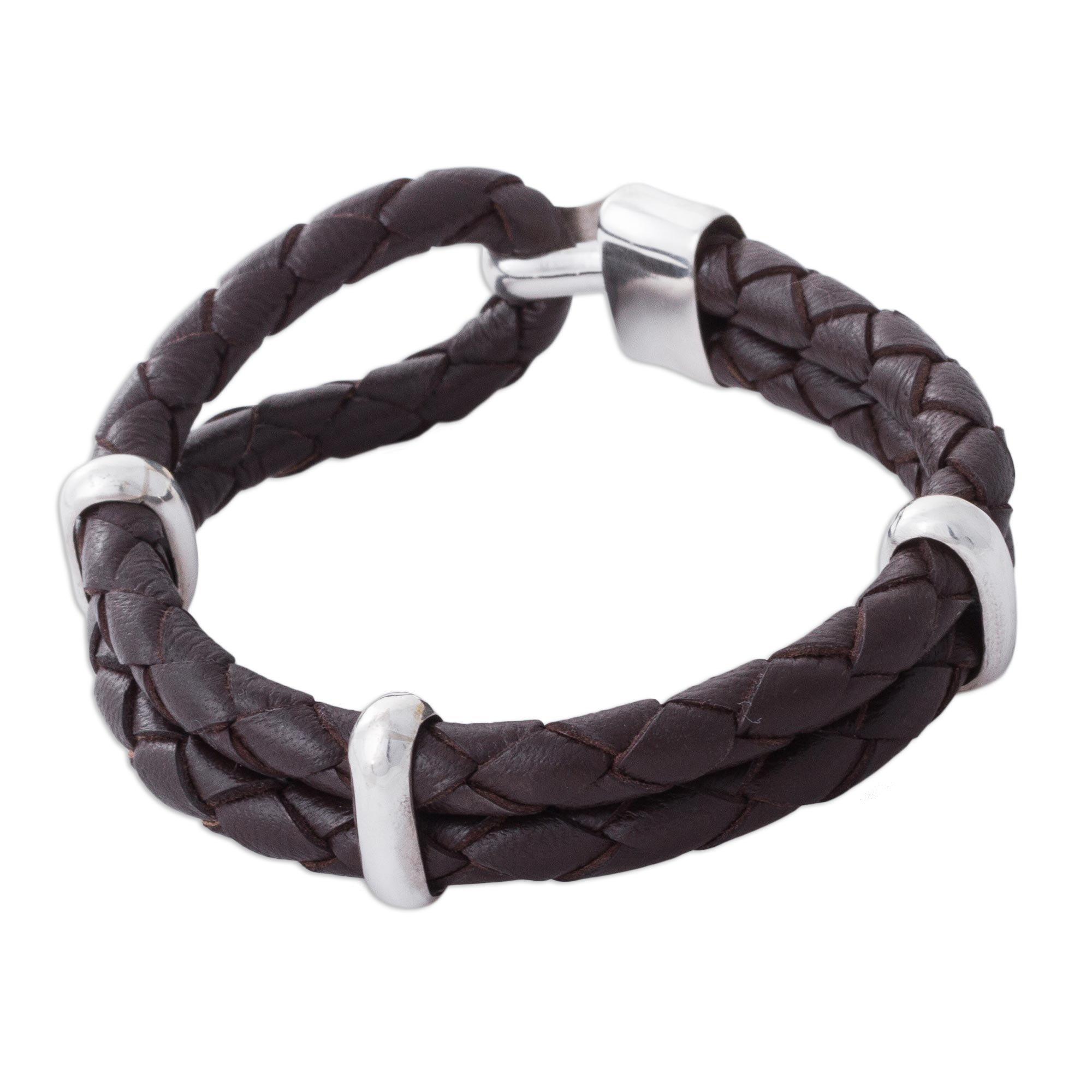 NOVICA .925 Sterling Silver Leather Men's Bracelet 'Desert Paths'
