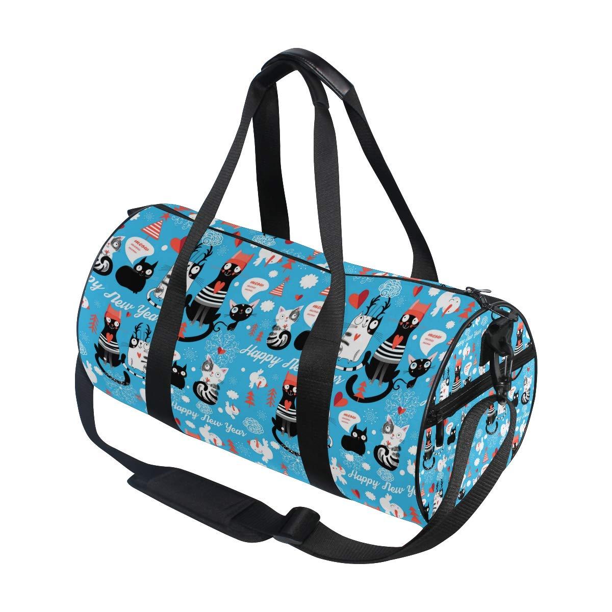 Black Cat Christmas Dress Popular casual fitness bag,Non-Slip Wearable Crossbody Bag Waterproof Shoulder Bag.