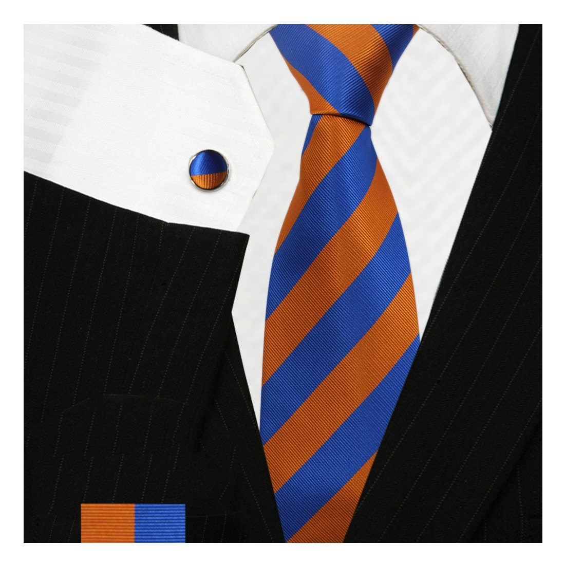 9ca9c0ab5a41 Bestow Royal Blue & Orange Tie Set | Neckties at Amazon Men's Clothing  store: