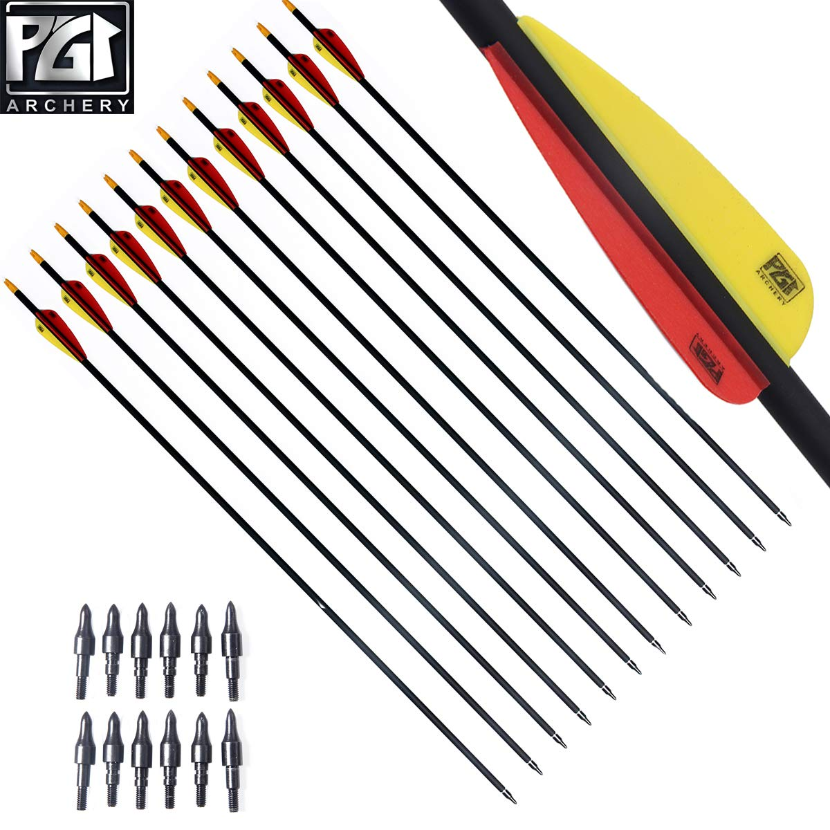 PG1ARCHERY Carbon Arrows, 30 Inch Targeting Arrows with Removable Tips 3'' Plastic Vanes Fletching for Archery Practice Hunting, 12 Pack Yellow Red