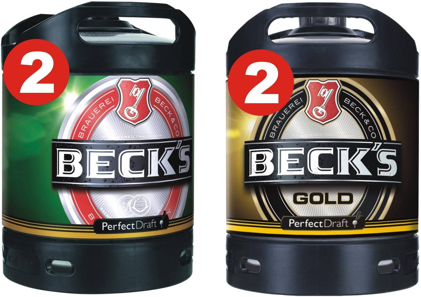 2 x Becks Pils + 2 x Becks Oro Perfect Draft 6 litros baril 4,9% vol.