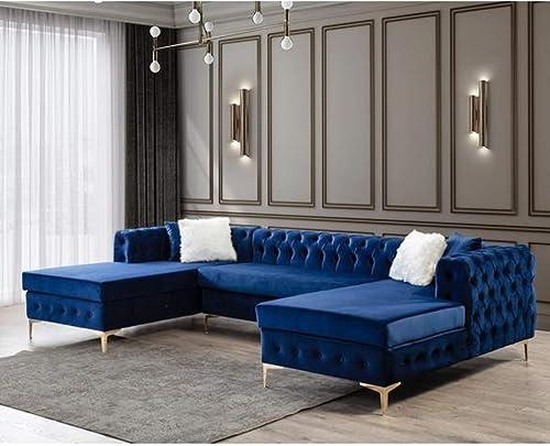 Deal of the week: NWF Modern Black/Blue Velvet Sectional Sofa 125'' U-Shape