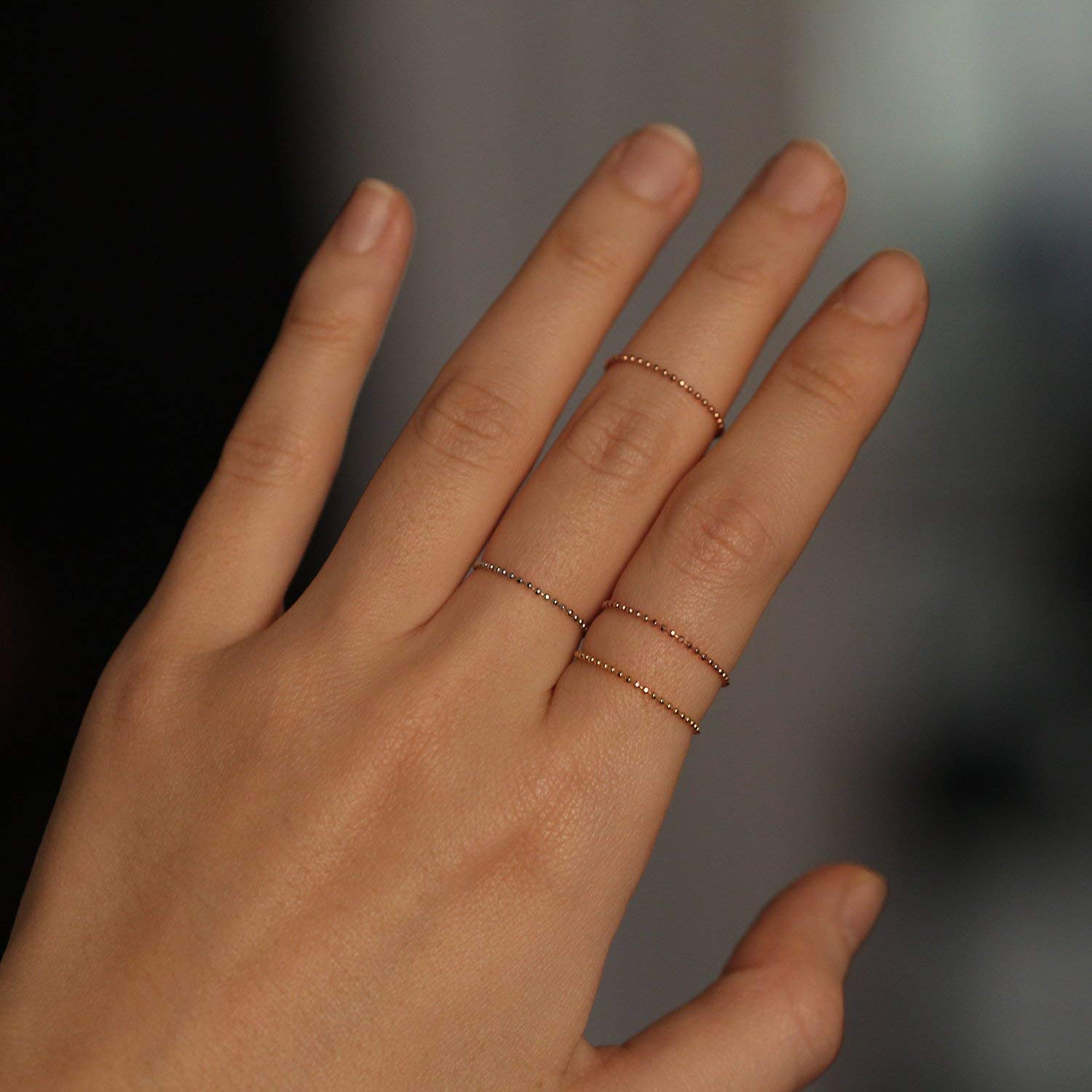 Dainty Gold Chain Ring 24k Gold Plated Ring Thin Band Ring Dainty Gold Ring Gold Chain Ring Double Dainty Ring Minimalist Ring