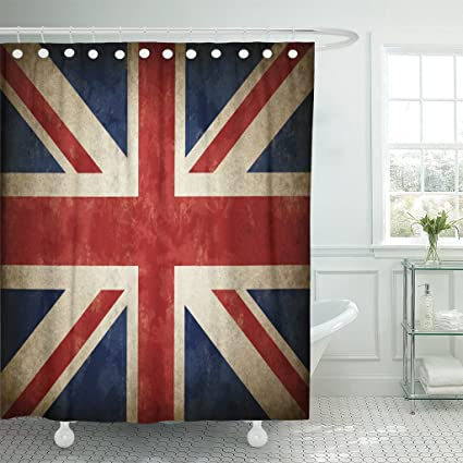 Emvency Fabric Shower Curtain Curtains With Hooks Great Britain Flag As Old Vintage British Symbol Of