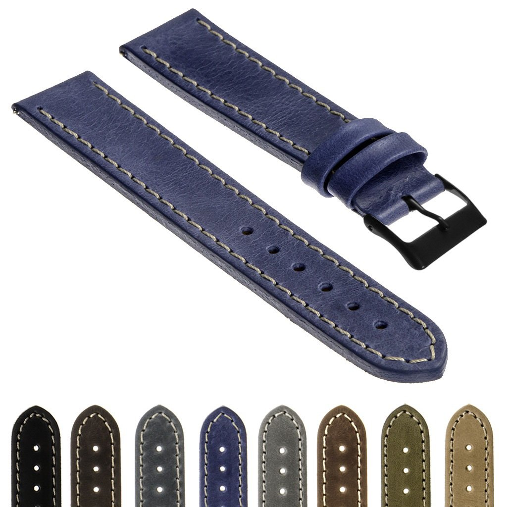 StrapsCoクイックリリースヴィンテージTop Grain Leather Watch Band Strap withマットブラックバックルスペイン製16 mm 18 mm 20 mm 22 mm 24 mm 26 mm 18mm Standard Length ブルーラグーン 18mm Standard Length|ブルーラグーン ブルーラグーン 18mm Standard Length B07212PXST