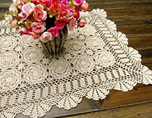 Damanni Rectangular Cotton Handmade Crochet Lace Table Runner Doilies Table Dresser Scarf Décor,19 Inch by 24 Inch,Beige