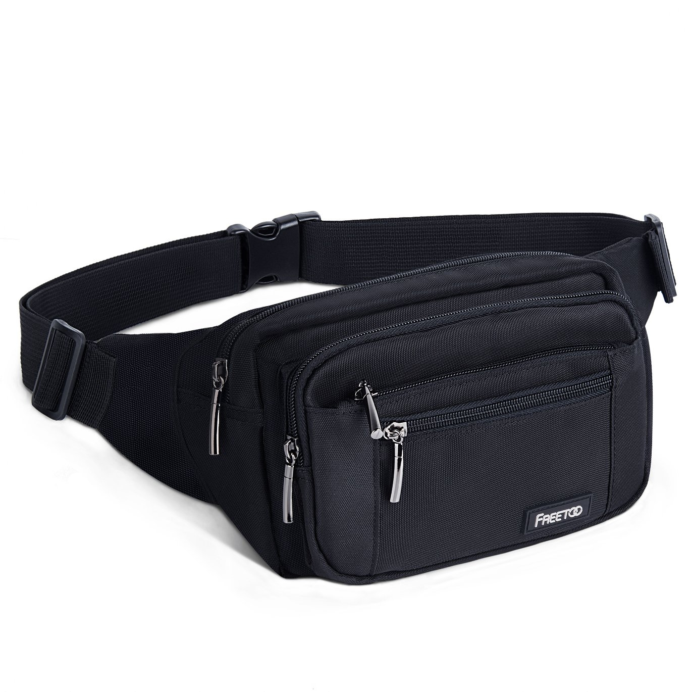 FREETOO Large Bum Bag 32.7 to 45.3 Inch Size Waist Travel Pouch Fanny Pack with 6 Zipped Pockets Ideal For Hiking Travel Holidays Festivals