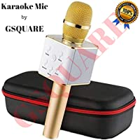 GSQUARE Wireless Bluetooth Microphone Recording Condenser Handheld Microphone with Bluetooth Speaker Audio Recording for Cellphone Karaoke Mic for all Devices (Assorted Color)