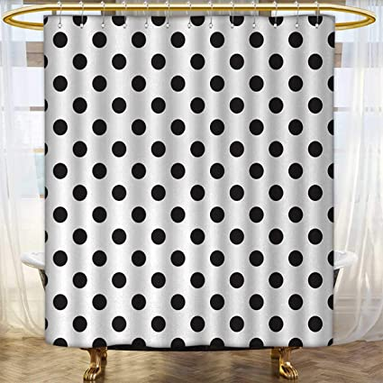 Anhounine Retro Fabric Shower Curtains Nostalgic Polka Dots Pattern With Large Round Circles Minimalist Modern Art