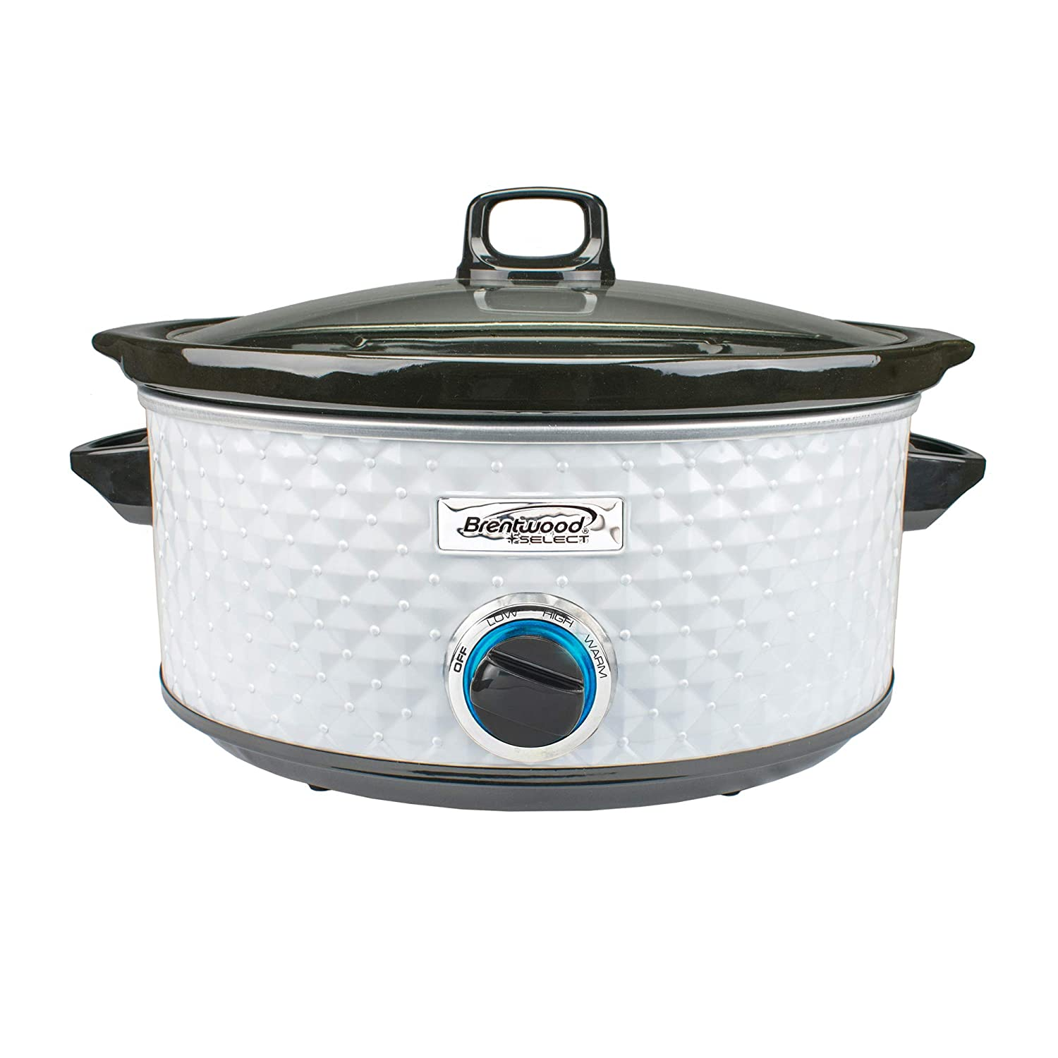 Brentwood Select Diamond Pattern Slow Cooker, 7 Quart (White)