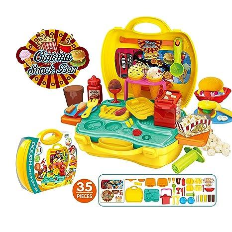 Amazon Com 35pcs Pretend Play House Toy Set Play Clay Dough 3d
