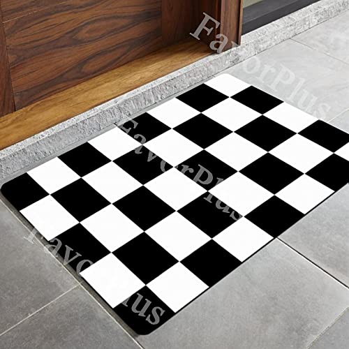 FavorPlus Black White Checkered Print Indoor Outdoor Decor Rug Doormat 30 L X18 W Inch Non-Slip Home Decor
