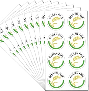 Gluten Free Labels 1 Inch - Gluten Food Rotation Labels 504 Adhesive Round Circle Dot Stickers Per Pack (Green Gluten, 1 inch)