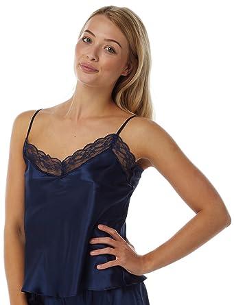 c8a005d13ede0 Marlon Ladies Satin Lace Camisole/Vest Navy - Size 10-24: Amazon.co.uk:  Clothing