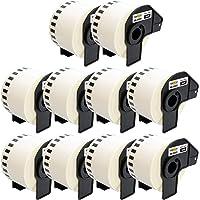 Yellow Yeti 10 Rollos DK-22223 Cintas continuas 50mm x 30,48m Etiquetas compatibles para Brother P-Touch QL-500 QL-570…