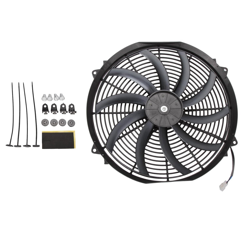 Madlife garage, ventola per il raffreddamento del radiatore, sottile, elettrica, ventola con kit di montaggio, universale ad alte prestazioni, 40,64 cm, 12V, colore nero