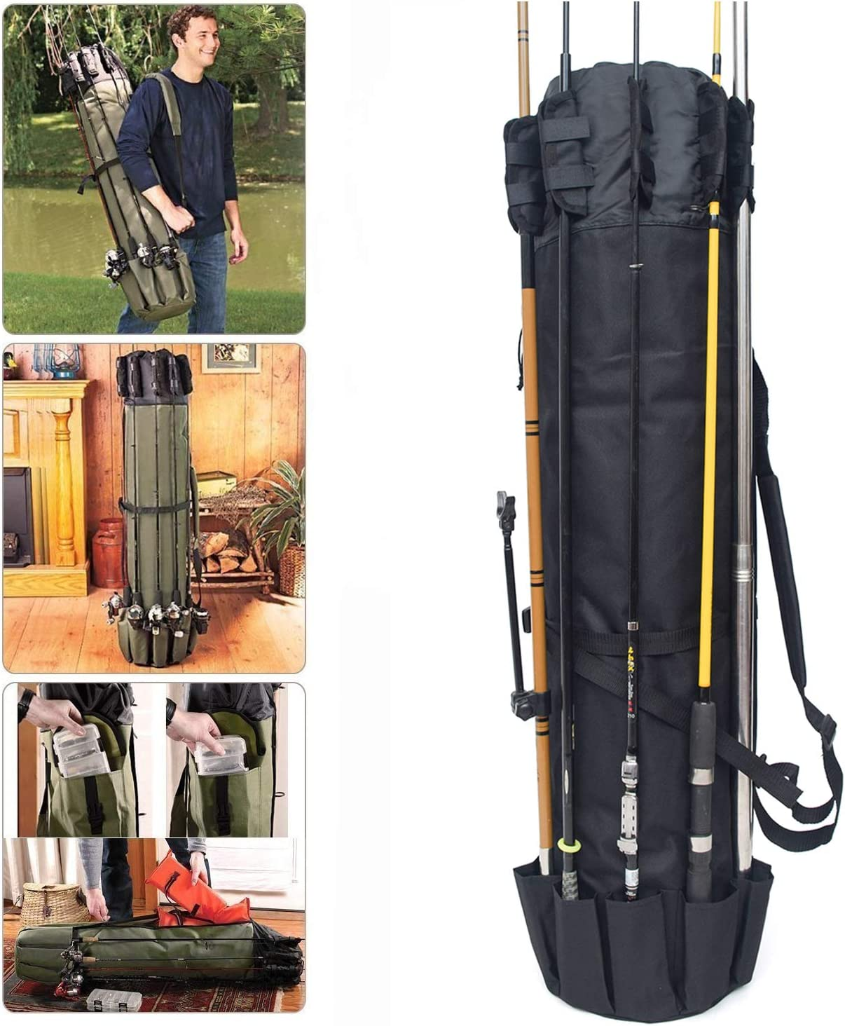 KJLM Fishing Tackle Bag Fishing Rod Bag Holdall Bag Travel Reel Carry Case Pole Tools Storage Bags Thickening Canvas 48.4inch