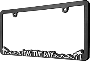 Spiffy License Plate Frame Seas The Day | Beach Themed Plate Frame | Fits US/CAN Vehicles | Vibrant Raised Lettering | Heavy Duty Polyurethane | Securing Clips | Original Design | Made in The USA