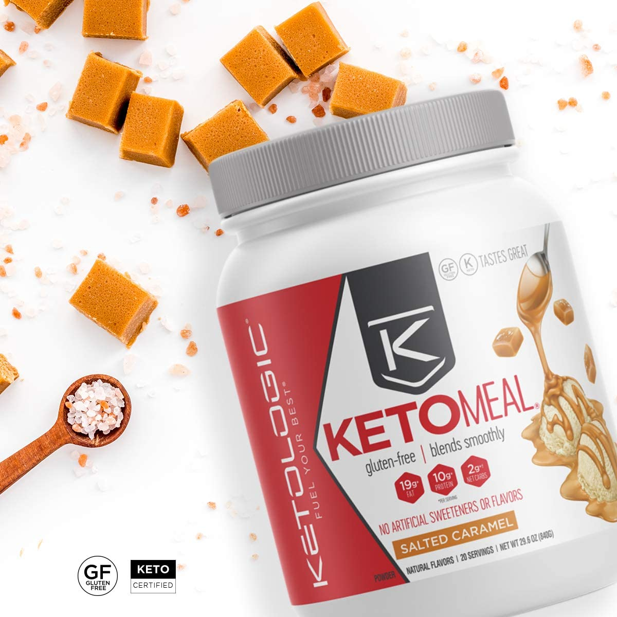 KetoLogic Keto Meal Replacement with MCT, Salted Caramel Low Carb, High Fat Keto Powder Promotes Weight Loss Suppresses Appetite 20 Servings