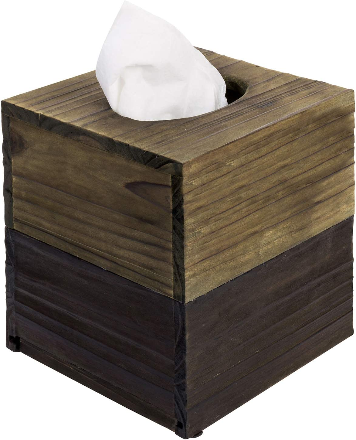 MyGift Distressed Barn Wood Dual Tone Brown Square Tissue Box Cover with Slide-Out Bottom Panel