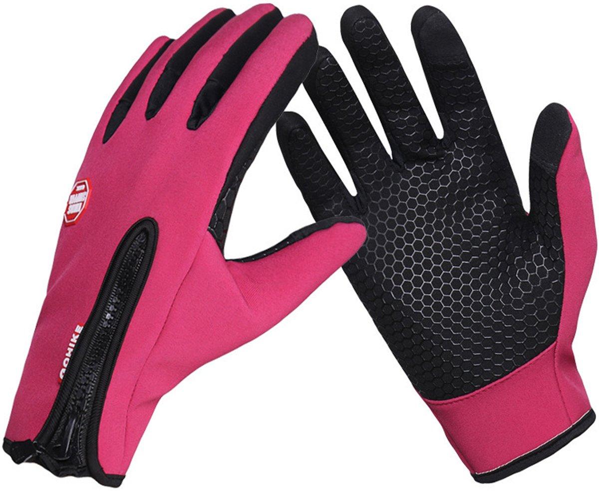 冬メンズとレディース手袋タッチスクリーン手袋アウトドアスポーツ暖かいフリースサイクリング手袋 Small ピンク B01MQVY689