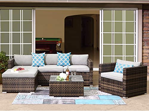 COSIEST 6-Piece Outdoor Furniture All-Weather Mottlewood Brown Wicker Sectional Sofa w Warm Gray Thick Cushion